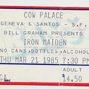 iron maiden ticket stub