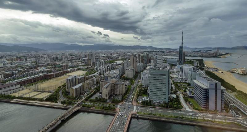 view from fukuoka hilton sea hawk hotel of tower