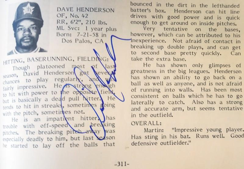dave henderson 1983 scouting report autograph signature