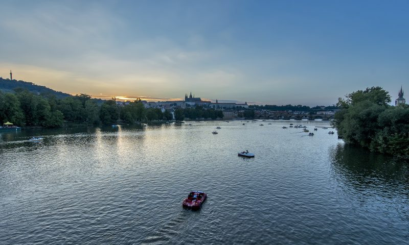 prague river sunset
