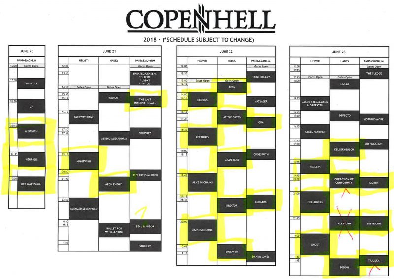2018 copenhell schedule time day