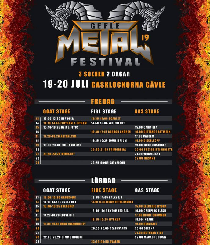 2019 gefle time stage running order schedule bands list