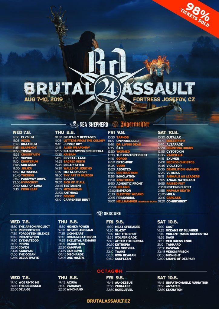 brutal assault 2019 running order
