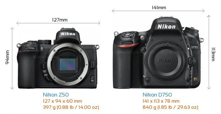 nikon d750 z50 compare size weight