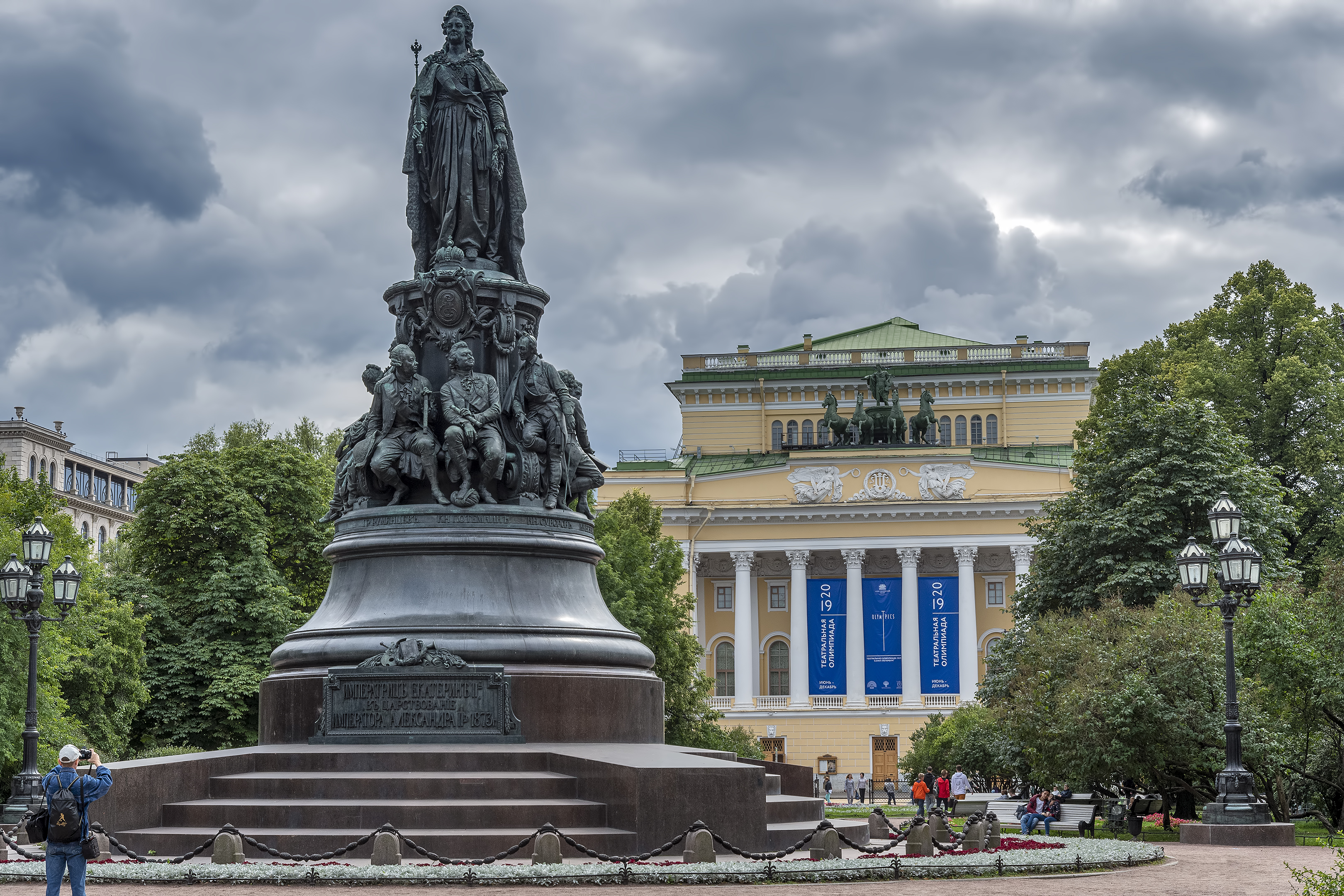 monument statue catherine great st petersburg russia