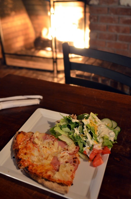 pizza by the fire