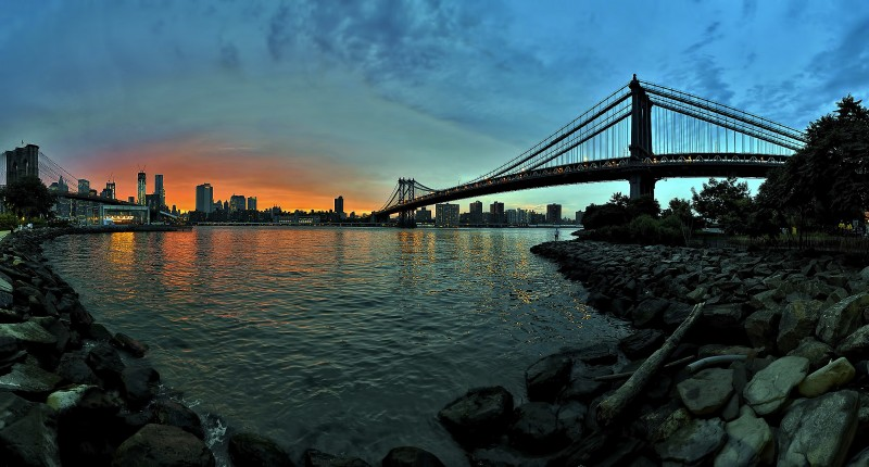 dumbo stormy sunset brooklyn new york merry go round east river
