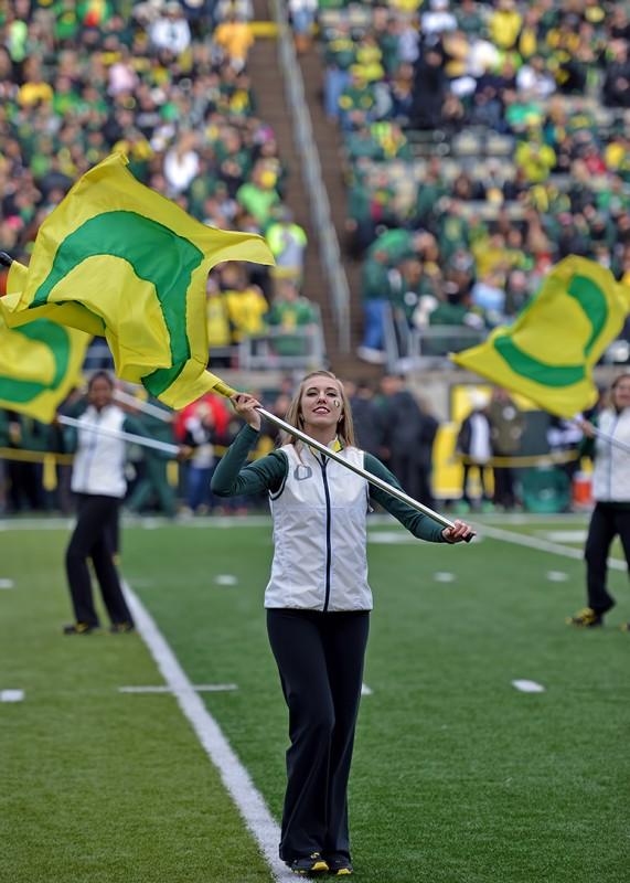 university oregon marching band flag corps female