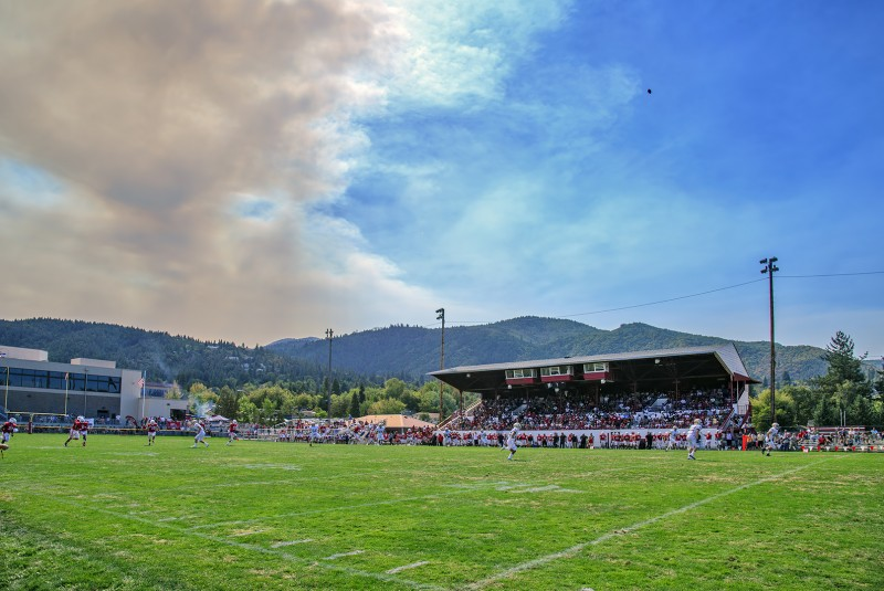 SOU football Ashland High School Happy Camp Fire smoke