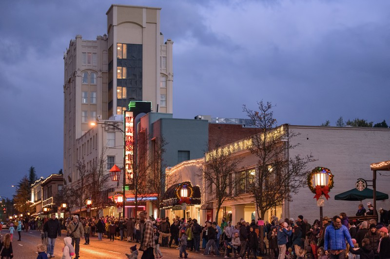 Downtown Ashland, Oregon before the 2014 Festival of Light Parade including the Ashland Springs Hotel and the Varsity Theater