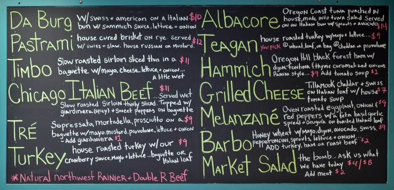sammich menu board