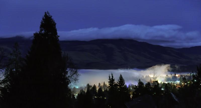 ashland foggy night under full moon