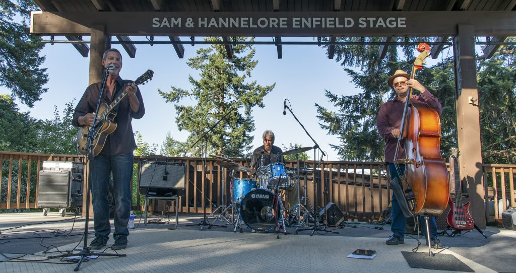The Paul Turnipseed Trio playing the first performance of the Britt Music & Arts Festival season with Jeff Addicott and Mike Fitch in the Britt Performance Garden