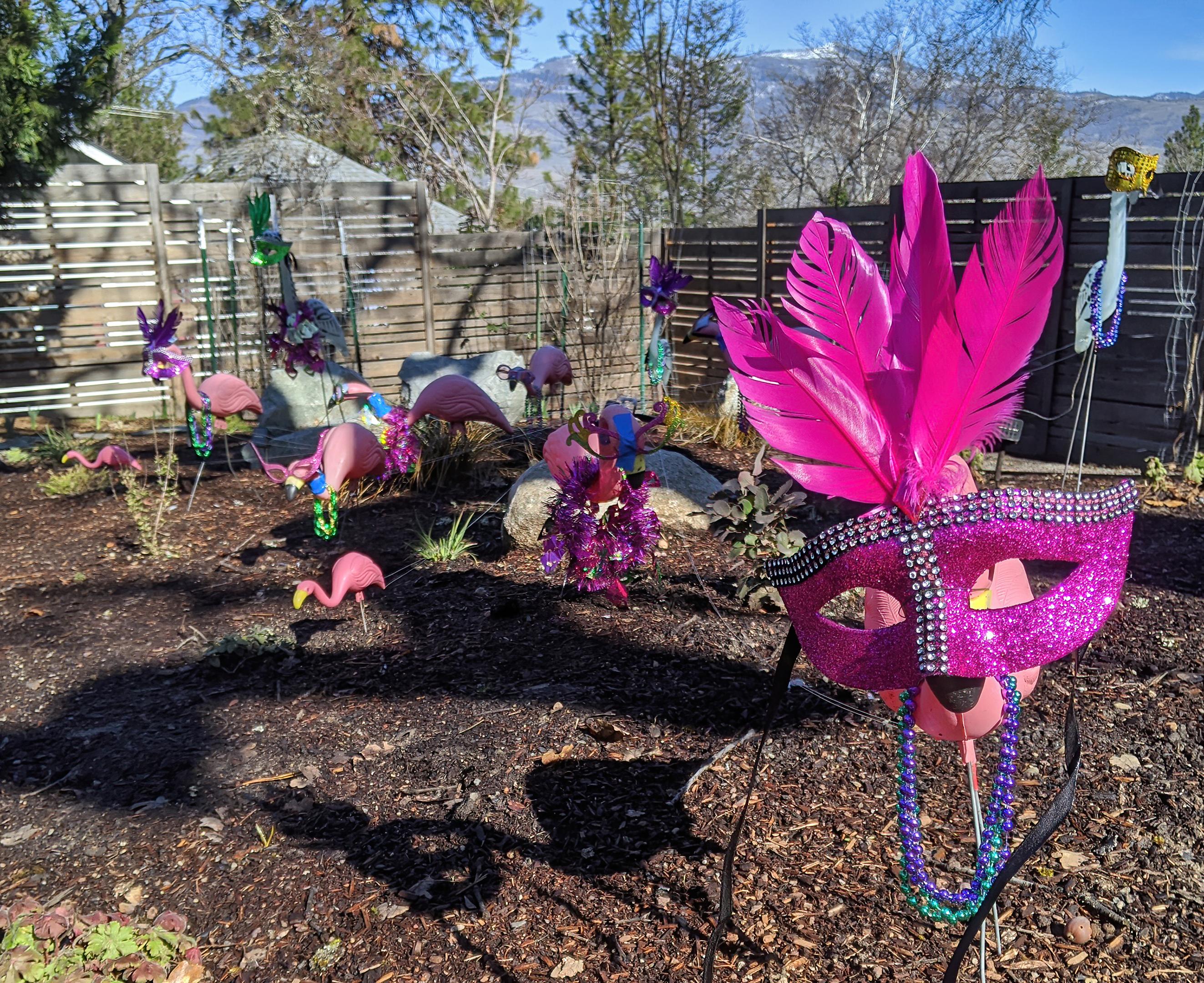 mardi gras pink flamingo lawn ornaments - topaz ai denoise