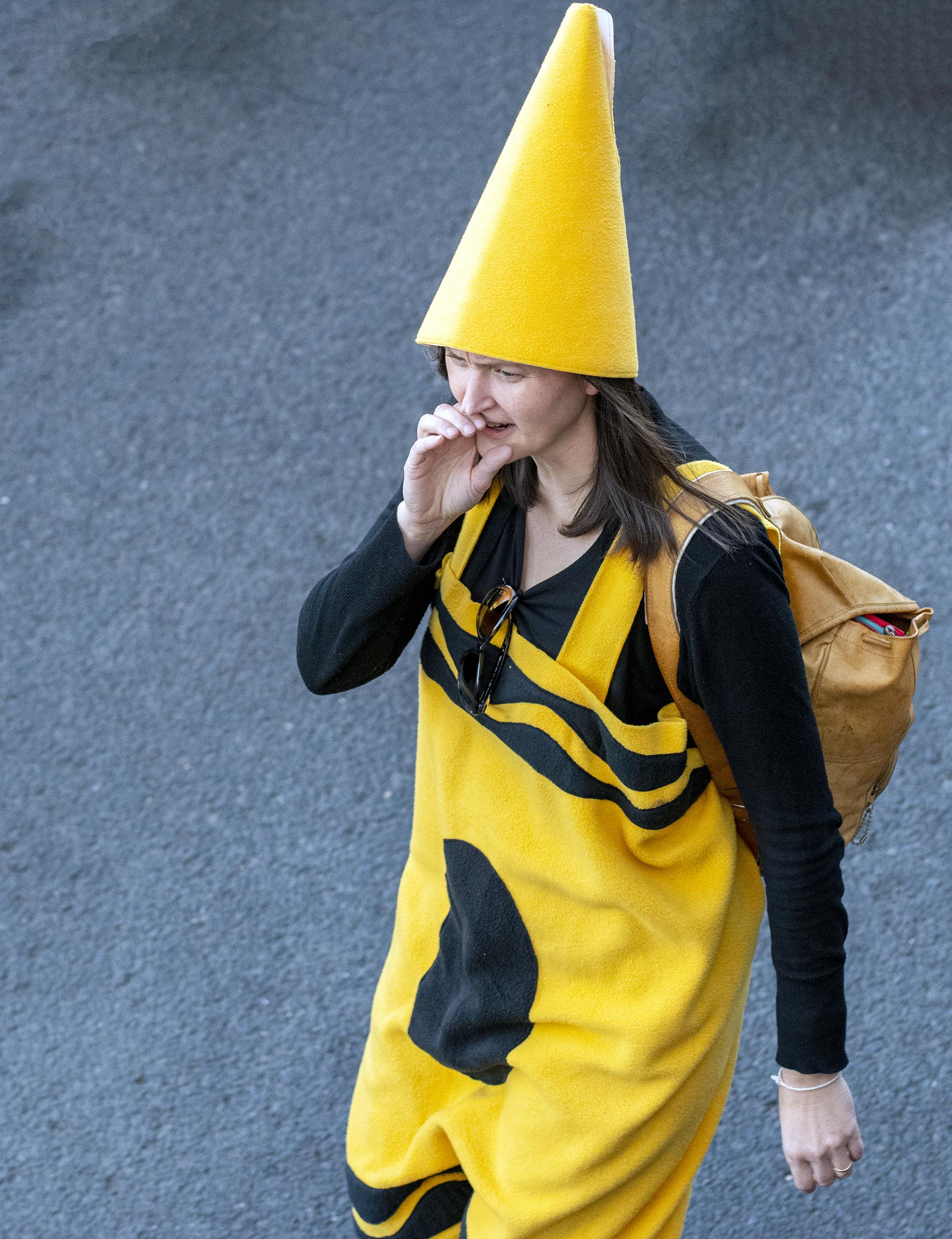 amy kneeland preskenis yellow crayon crayola halloween costume parade ashland