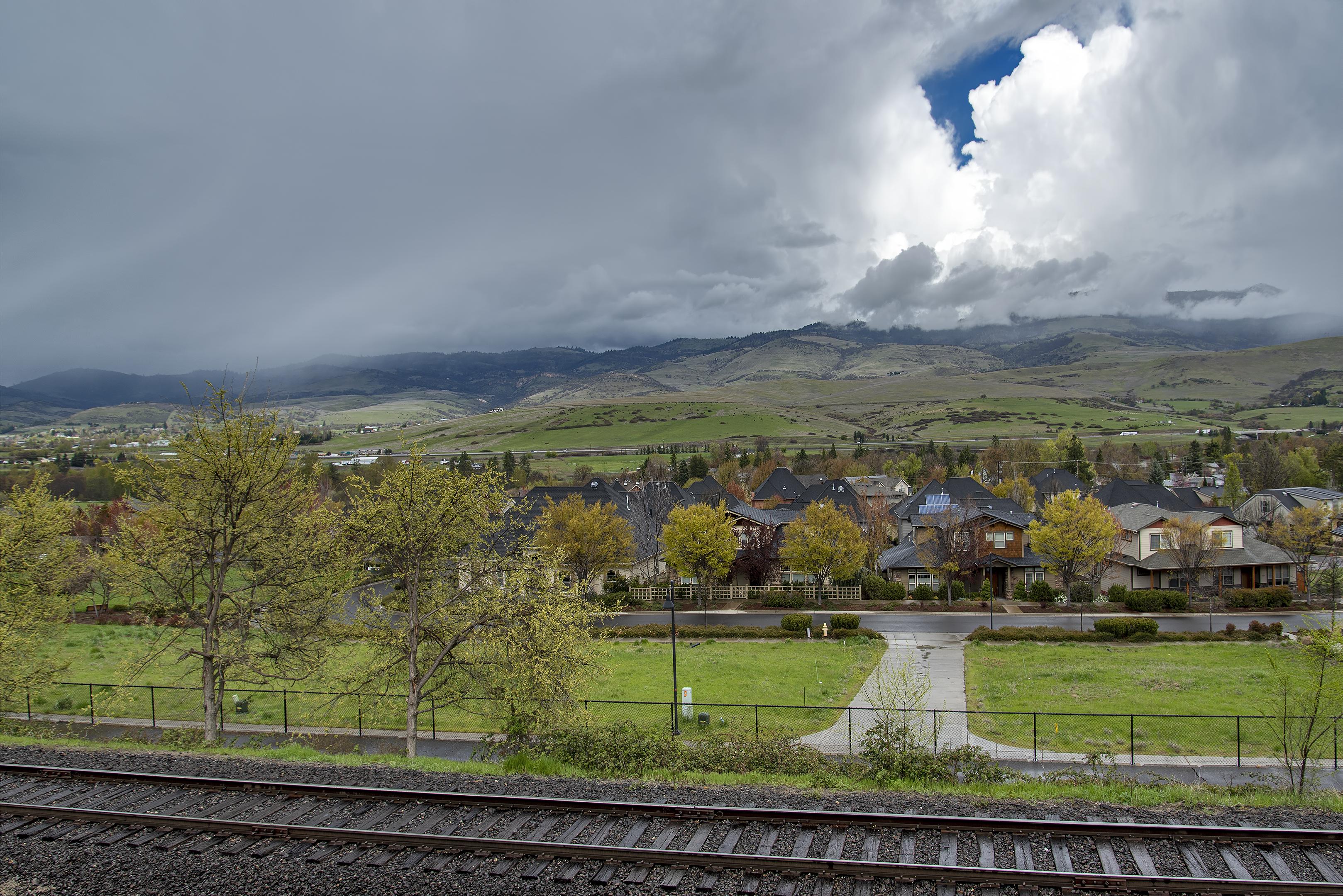 ashland railroad tracks grizzly peak clouds